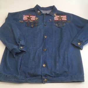 Jackets & Blazers - Vtg denim shirt jacket with HOGS pins patches